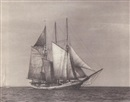 "Willard Bramwell Jackson, The three masted schooner ""Frank Brainard"" passing a yawl"