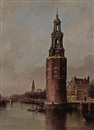 Jan van der Linde, View on the Montelbaans Toren, Amsterdam