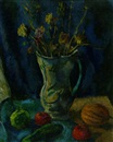 Samuel Brecher, Still life with flowers in a pitcher and fruit on a table