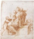 Alessandro Ardenti, Female allegorical figure surrounded by putti bearing symbols of ecclesiastic virtues