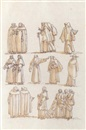 Giuseppe Cades, Groups of clerical figures, including monks and a cardinal, in procession