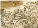 Attributed To Tobias Verhaecht, Landscape with a bridge and buildings behind