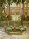 Ernest Clifford Peixotto, A courtyard with a fountain and flowers, Portugal