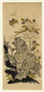 Japanese School (18), A shishi by a peony trying to catch a butterfly (hosoban)