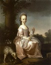 Henry Pickering, Portrait of Margaret Smith, of Cotescue, in a pink dress with white lace apron, holding flowers, with a sheep