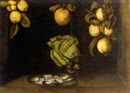 Paul Karslake, Apples, lemons and a cauliflower hanging over a plate of oysters
