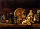 Paul Karslake, Carafes, goblet and jugs on a table with oranges, a brass plate and cartons