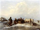 Dabreu, A winter landscape with figures in a horse-drawn sledge