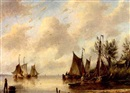 Gerardus Hendriks, Fishing boats in an estuary