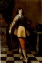 Attributed To Harmen Willemsz Wieringa, Portrait of an officer in a buff coat, striped breeches and a lace collar, holding a cane, before a draped column and a table