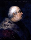 Follower Of Cristofano di Papi dell' Altissimo, Portrait of Pier Francesco di Lorenzo di Bicci de' Medici wearing a fur-collared crimson coat