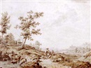 Jordanus Hoorn, An Italianate landscape with herdsmen and their cattle