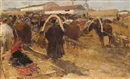 Attributed To Mikhail Filippovich Ivanov, Market in Nizhni Novgorod