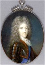 Jacques-Antoine Arlaud, Prince James Francis Edward Stuart in gilt-studded armour and lace cravat, wearing the blue sash of the Order of the Garter, full bottomed powdered curling wig