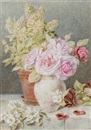 Mary Elizabeth Duffield, Still life of roses, dog roses and basil