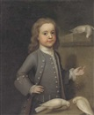 John Theodore Heins Sr., Portrait of Master Harry Spark Patterson (1725-1764), three-quarter-length, in a grey coat, feeding three doves on a ledge