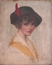 Carle John Blenner, Illustration of a young woman wearing a hat with a red feather