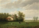 Willem Vester, A landscape with two girls playing in a meadow near a house