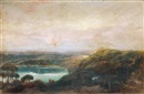 Follower Of John Robert Cozens, A view of Lake Nemi, looking towards Genzano