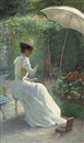 Ch. Endres, A young lady painting in the garden