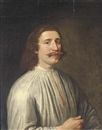 Anglo-Dutch School (17), Portrait of a gentleman (The son of Joseph Hall, Bishop of Exeter?) in a white shirt
