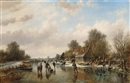 Willem Vester, A winter landscape with skaters on a frozen waterway