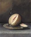 Paul Karslake, A melon on a pewter dish with a glass, on a stone ledge