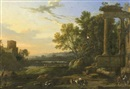 Manner Of Pierre Patel, Figures and livestock in a pastoral landscape with ruins