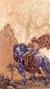 Franklin Booth, Mounted knight and child approaching castle