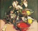 Gordon Bryce, Still life of silver teapot, roses and red bowl
