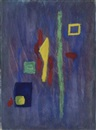 Barnett Newman, Untitled (Red, yellow and green forms on a purple ground)