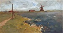 Jacob Ritsema, En Hollande: Windmill by the waterside
