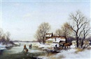 Dorus Arts, Skaters and timber wagon on a frozen pond