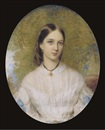 Reginald Easton, A young lady, seated in white dress with lace collar, blue ribbons at her elbows, dark hair, wearing a gold necklace suspended from a black ribbon; landscape background
