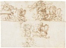 Filippo (Filippino) Lippi, Three designs for a decorative frieze with putti and harpies among foliate scrolls