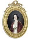 Pierre Paul Emmanuel de Pommayrac, A young lady in lace-bordered white dress with white rose and foliage at corsage, russet-red velvet coat, centre-parted dark hair