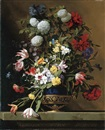 Jean-Michel Picart, Chrysanthemums, tulips, irises, peonies and other flowers in a lapis vase with gilt ormolu on a sculpted stone ledge