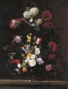 Jean-Michel Picart, Poppies, roses, tulips, narcissi, cyclamen, hydrangeas and other flowers in a lapis vase with ormolu with a red admiral butterfly...