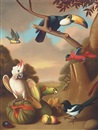 Nicholas Pace, A toucan, cockatoo, and other birds with fruit in a landscape