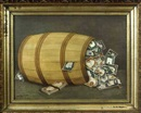 John Harkins, American bank notes spilling out of a barrel