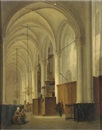 Bernardus van de Laar, Figures in an exalted church interior