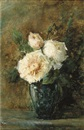 Adrienne Jacqueline 's Jacob, White roses in a blue vase