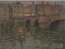 Charles Herbert Eastlake, The town bridge, on a summer's evening