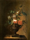 Flemish School-Liège (18), Bouquet of summer flowers, lilies, roses, tulips, a sunflower and others in urn (+another, similar; 2 works)