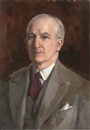 Sydney Adamson, Portrait of a gentleman, bust-length, in a brown suit