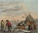 Follower Of Barent Avercamp, A winter landscape with men playing kolf and children on a sledge