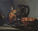 Cornelis Jacobsz. Delff, Kitchenware in the glow of an oil lamp