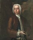Attributed To Robert Hill, Portrait of a gentleman, half-length, in a brown coat and navy waistcoat with silver frogging, in a landscape