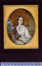 Reginald Easton, A young lady wearing white dress with lace collar, blue ribbon with jewelled slide at her throat, pale blue ribbons across her puffed sleeves and tartan sash, she holds a parrot