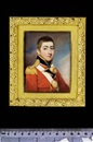 John Cox Dillman Engleheart, George Gould Morgan wearing uniform of the Coldstream Regiment of Foot Guards, scarlet coat with gold trimmed blue facings, gold epaulette, belt plate with silver star and the Order of the Garter